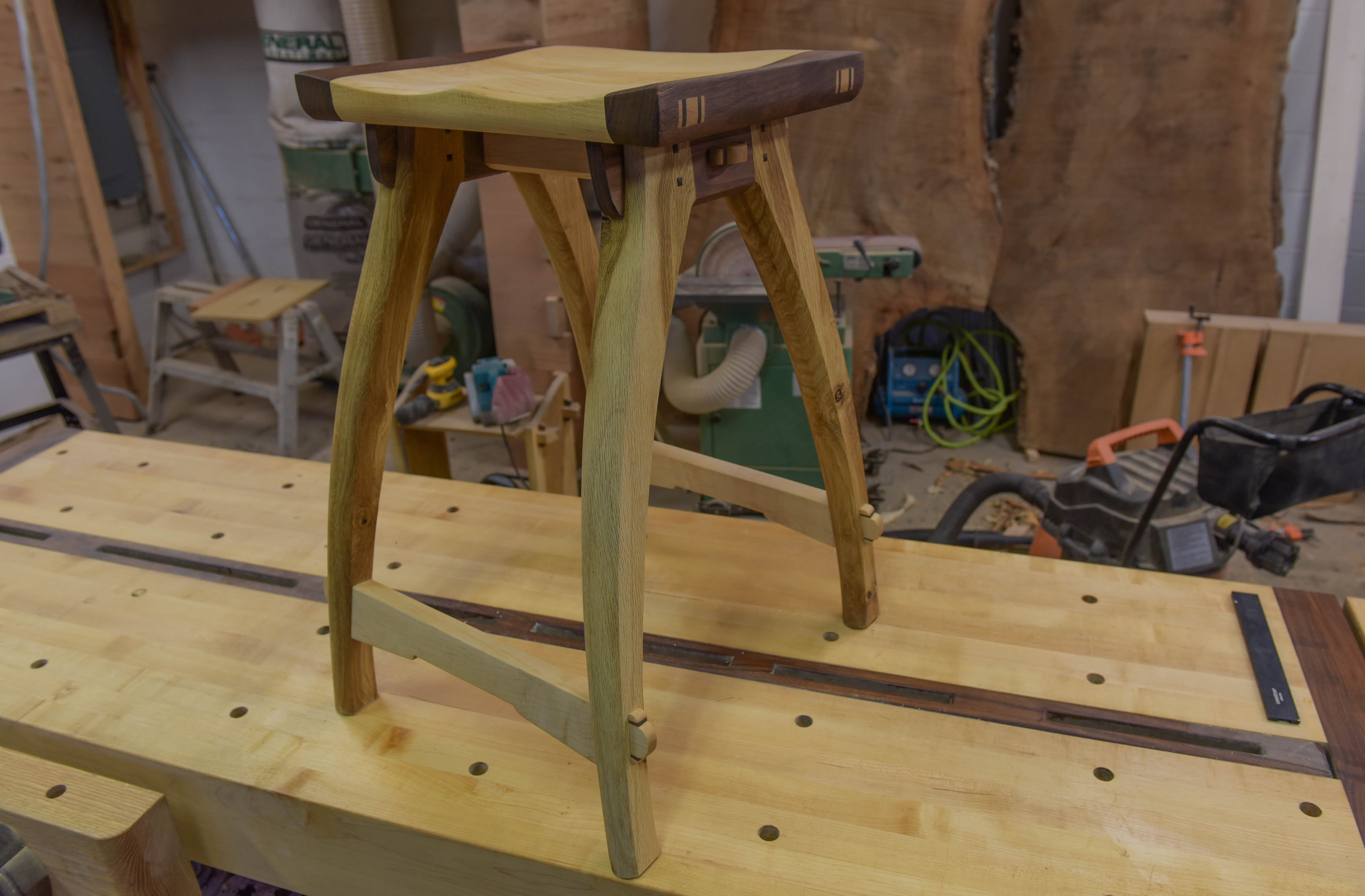 Woodworking, Shop Stool With Old School Joinery - The Samurai Carpenter
